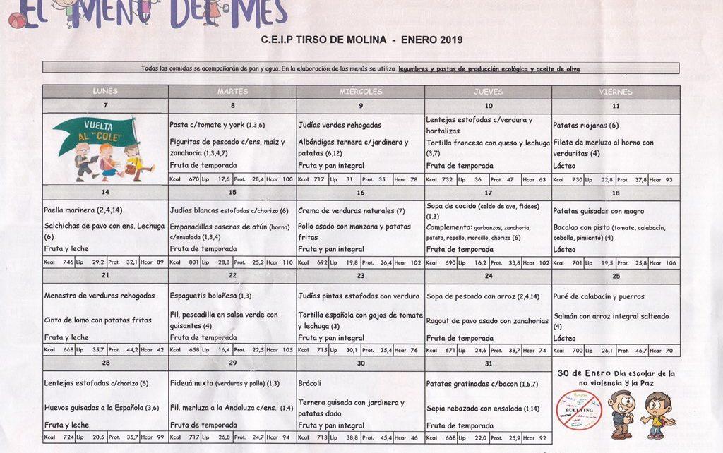 Menú de comedor de enero – AMPA CEIP TIRSO DE MOLINA